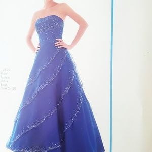 Royal Blue Strapless Sequin Sparkly Prom Dress